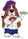 Artful Hounds logo of a basset hound cartoon holding a paint brush and pallet.