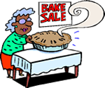 Catoon of an old woman at a bake sale.