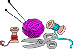 Cartoon of yarn with scissors.