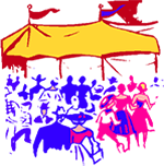 Artwork of a large outdoor party.