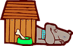 Cartoon of a grey dog in a dog house.