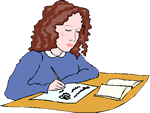 Cartoon of a young woman writing grants.