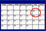 Calendar with the tenth circled in red.