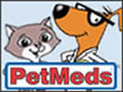 Pet med logo of cartoon dog and cat.