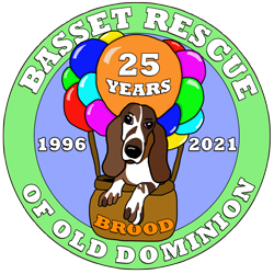 Basset Rescue of Old Dominion Logo 25th Anniversary